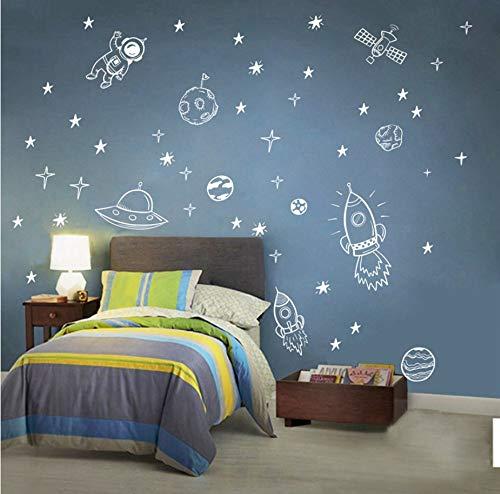 Rocket Ship Astronaut Creative Vinyl Wall Sticker for Boy Room Decoration Outer Space Wall Decal Kinderzimmer Dekor NR13 65x42cm (Outer Dekor Space)