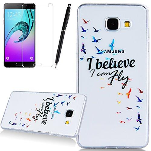 HB-Int 3in1 Weich Silikon Hülle für Samsung Galaxy A5 (2016) A510 5.2 Zoll Transparente Schutzhülle Cover Klar in Bunte Vogel Muster Schlank Handyhülle TPU Back Case I Believe I Can Fly Etui Protective Cover Stylus Pen + Displayschutzfolie