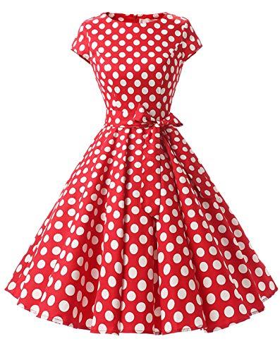MuaDress 1956 Damen 50er Festliche Kleider Retro Kurz Cape Petticoat Rockabilly Swing Rot Große Weiß Punkte L