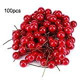 100pcs Artificiale Rosso Ciliegia Bacca di Natale Decorazioni Appendere Ornamenti Holly Berry Holiday Festival Frutta Artificiale Decor DIY
