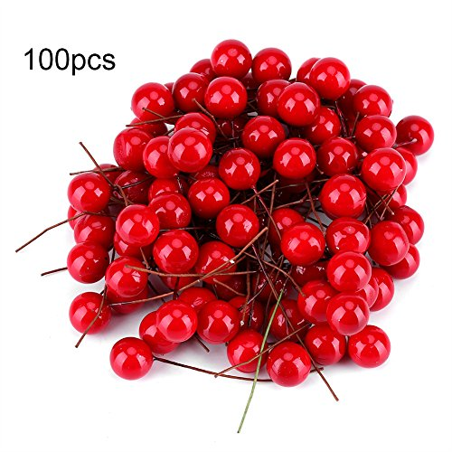 Yosoo Künstliche Rote Kirschen Weihnachten Beere Dekorationen Holly Berry Hängende Ornamente Urlaub Festival Künstliche Früchte Decor DIY Feiertag (100Pcs) Holly Berry