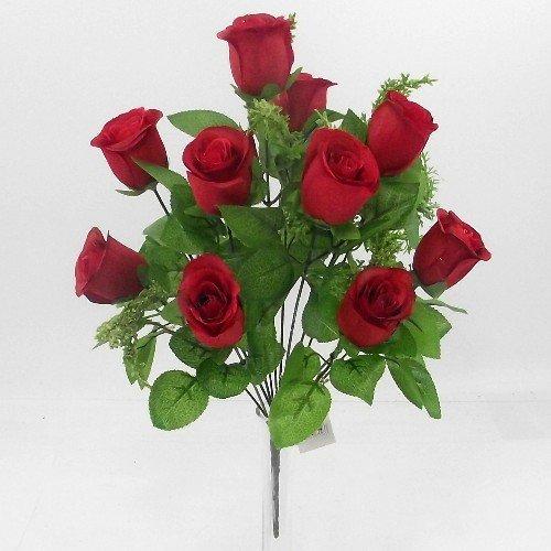 Valentine Blumen-12rot Rosen mit Blattwerk-12in (Künstliche) (Valentines Künstliche Rose)