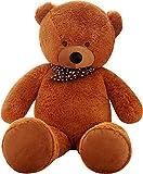SHAIK XL Kuschel-Teddybär 100-180 cm (diag.) groß in Braun und Weiss - TÜV SÜD geprüft - Plüschbär Teddy Kuscheltier Stofftier (100 cm, Braun)