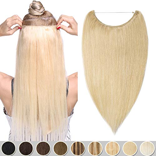Extension A Fil Cheveux Naturel 100% Cheveux Humain Wire In Hair Extension - Sans Clip Sans Glue - Invisible Extension Rajout Cheveux [16 Pouces,#613 Blond Très Clair]
