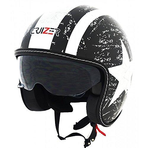 CRUIZER - Casco per moto e scooter Demi Jet di colore nero lucido omologato con visiera sole a scomparsa (XL)