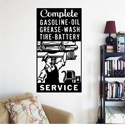 sswymx Tankstelle Zeichenaufkleber Garage Zeichen Wandkunst Aufkleber Mechanische Geschenk Dekoration Auto Service Wandvinyl Kunst 42 * 79 cm