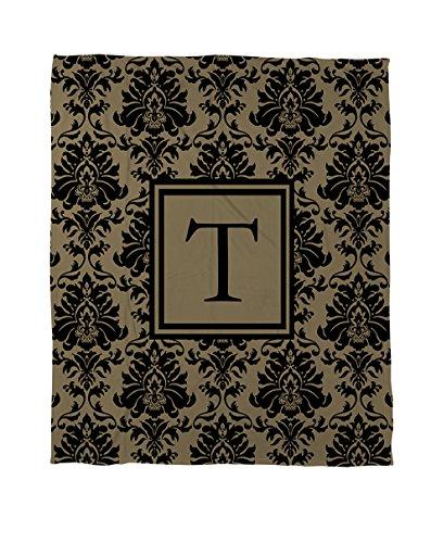 Set Tröster Gold Twin (Manuelle holzverarbeiter & Weavers Bettbezug-, Monogramm Buchstabe T, schwarz und gold Damast)