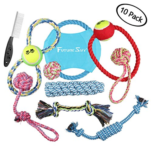 futuresky-dog-toys-10-pack-gift-set-ball-rope-and-chew-squeaky-toys-variety-pet-dog-toys-set-for-sma