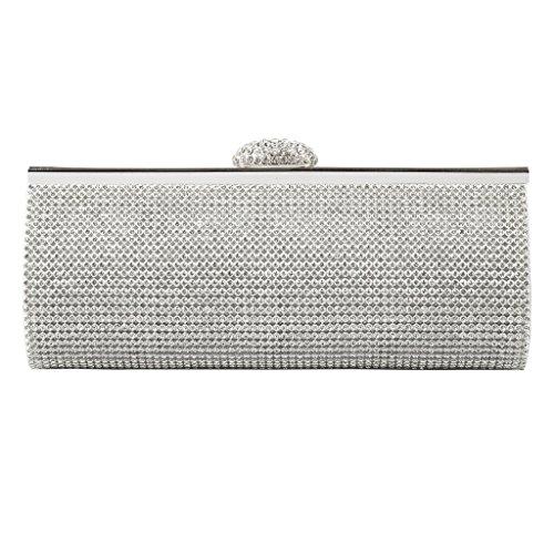 Sharplace Pochette Sacchetto per Donna Cerimonia Festa Nooze Strass Spalla Borsa Eleganti Sera Argento