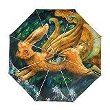ALAZA Fliegen Hare Gemälde Regenschirm Reise Auto Öffnen Schließen UV-Schutz-windundurchlässiges Leichtes Regenschirm