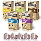 Gourmesso Eco Line Box (5 Sorten) - 100% kompostierbare* und nachhaltige Kaffeekapseln | ohne Alu und Plastik - 50 Nespresso kompatible Kaffeekapseln - Bio und Fairtrade