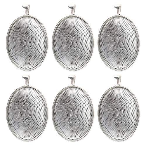 ns Oval Klar Glas Kuppel mit Vintage Anhänger Tabletts Abdeckung für DIY Schmuckherstellung 30x40mm 6 Stück (Antik Silber) ()