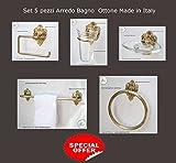 Arredo Bagno Set 5 pezzi Ottone Lucido Alta Qualita' Made Italy