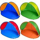 Pop Up Strandmuschel inkl. Tragetasche & Heringen   Größe ca. 220x120x100cm - Sonnenschutz (UV-Schutz 30+)   Strandzelt Wurfzelt Sonnenschutz Outdoor Campingzelt orange/grün