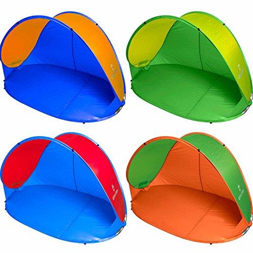 Pop Up Strandmuschel inkl. Tragetasche & Heringen   Größe ca. 220x120x100cm - Sonnenschutz (UV-Schutz 30+)   Strandzelt Wurfzelt Sonnenschutz Outdoor Campingzelt grün/gelb