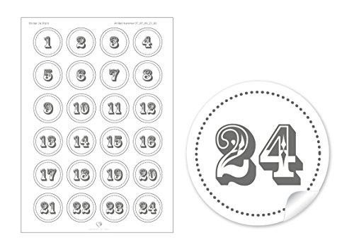 24Calendrier de l'Avent chiffres dans gris blanc • selbstglebende décoratif pour calendrier de l'avent de Noël soi-même bricolage • Sticker/Autocollant/étiquettes (Format 4cm, rond, mat)