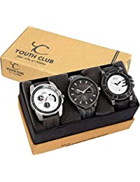 Youth Club Analogue Multicolor Dial Men's Watch (Combo of 3) - 6347468