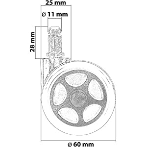 51a6s7pgshL. SS300  - RACEMASTER-Set-de-5-ruedecillas-para-silla-de-oficina-Para-suelos-sin-moqueta-Perno-de-11-mm-Ruedas-de-50-mm-Ruedas-para-muebles-de-oficina