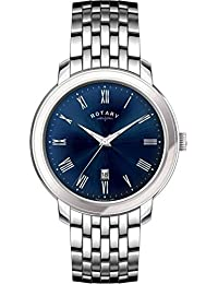Rotary Men's Quartz Watch with Blue Dial Analogue Display and Silver Stainless Steel Bracelet GB02460/05