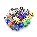 Smartdealspro 50-Pack D6 Six Sided 12mm Opaque Dice Die-Random Color(at least 5 colors)