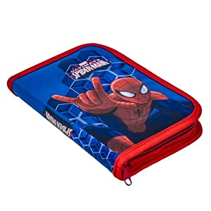 Viscio Trading 159306Estuche Cremallera Spiderman, TXT poliéster/Madera/Cera/Tinta, Multicolor, 20x 14x 3cm