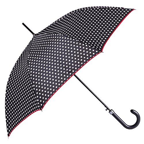 Bolero paraguas de lluvia largo clásico, cortavientos y automático, apertura automática para permitir una mano, tejido pongee