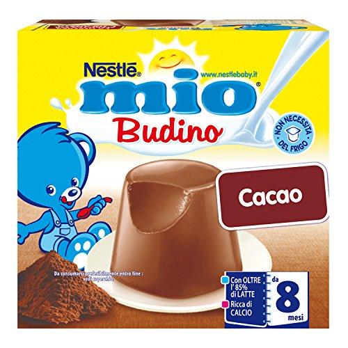 Nestlé Mio Budino Cacao da 8 Mesi senza Glutine 4 Vasetti Plastica 100 g 6 Confezioni