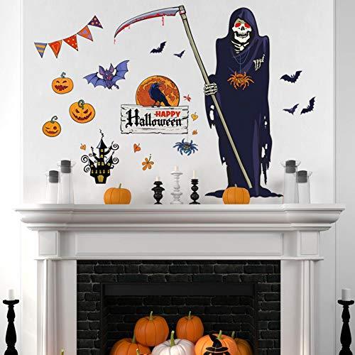 Halloween Gott des Todes Sense Cartoon Wandaufkleber Kürbis Lichter Crow Castle Bat Spider Diy abnehmbare Festival Horror Decals