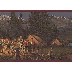 """Retro Art Tente de montagne nuit feu de Camp cheval Cowboys Wallpaper garniture marron bordure Design rétro, rouleau de 15' x 9"""""""