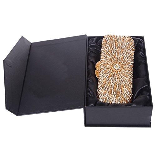Santimon Donna Pochette Borsa Bagsuette Bling Strass Borse da Festa di Nozze Sera Con Tracolla Amovibile 4 Colori oro