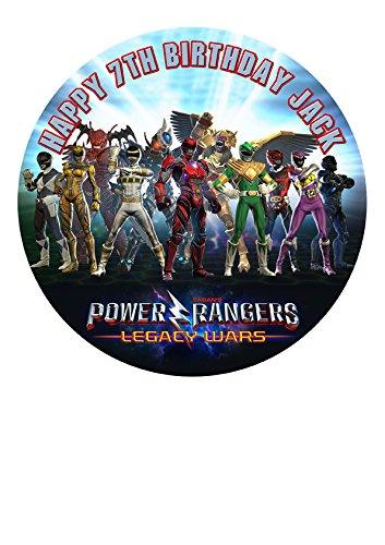 Power Rangers Personalisierte Kuchen Topper Puderzucker Papier 19,1cm Bild M6