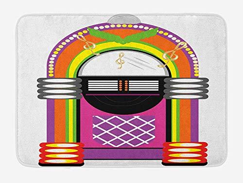 ARTOPB Jukebox Bath Mat, Cartoon Vivid Ethnic Design Vintage Music Notes Radio Box Artwork, Plush Bathroom Decor Mat with Non Slip Backing, 23.6 W X 15.7 W Inches, Orange Purple and Green Lime Green Music Box