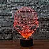 3D Lamp USB Power 7 couleurs Incroyable illusion optique 3D Grow LED Lamp Alien Shapes Kids Bedroom Night Light