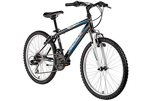 Mountainbike 24 Zoll für Kinder Hillside Yava in schwarz Kinderfahrrad Fahrrad MTB 21 Gang Shimano Tourney Seitenständer, Federung vorn