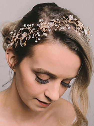 SWEETV Bohemien Haarreif Hochzeit Stirnbänder Harrband Tiara Kristall Haarschmuck Haarreif, Gold