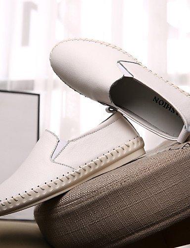 ShangYi Scarpe Donna - Mocassini - Ufficio e lavoro / Formale / Casual - Comoda / Punta arrotondata - Piatto - Di pelle - Nero / Bianco White