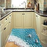 Bovake 3D Strand-Fußboden-Wand-Aufkleber-entfernbare Wandabziehbild-Vinylkunst-Wohnzimmer-Dekore(ColourF)