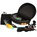 Jimmy Orange Multi Sport Sunglass Polarisierte Goggle mit 5 austauschbaren Linsen Gespiegelte Outdoor Running Radfahren Sonnenbrille mit Tragetasche mit Haken JO0868 blau