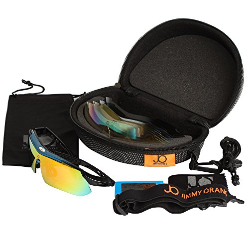 Jimmy orange, occhiali da sole sportivi polarizzati, con 5lenti a specchio intercambiabili, per corsa e ciclismo, con custodia per il trasporto con gancio, jo0868 nero blue