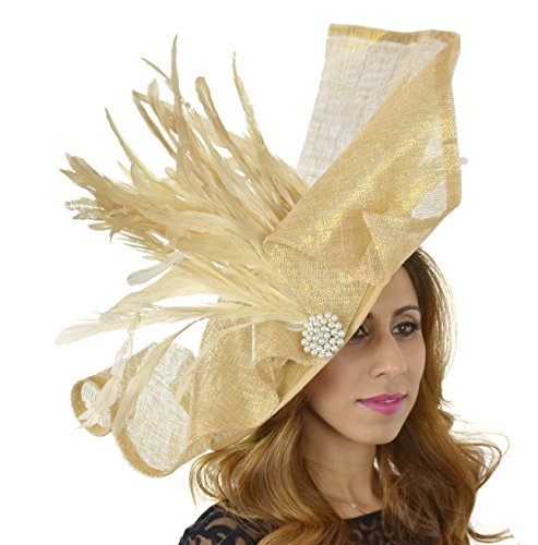 Superbe maafaru Grand Ascot Derby Bibi Chapeau – avec bandeau – Disponible en 30 couleurs Or - Metallic Gold