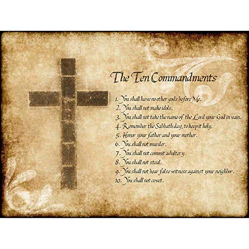 Wee Blue Coo LTD Ten 10 Commandments Cross Christian Religious Quote Typography Art Print Poster Wall Decor Kunstdruck Poster Wand-Dekor-12X16 Zoll (Cross Art Christian)
