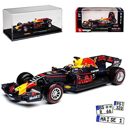 Bburago Red Bull RB13 Racing Max Verstappen Nr 33 Formel 1 2017 mit Vitrine 1/43 Modell Auto - 33 Formel