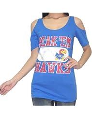 NCAA Kansas Jayhawks femmes Crew-Neck Off-The-Shoulder T-Shirt