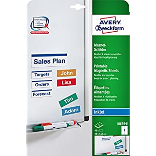 Avery Zweckform J8875-5 Printable Magnetic Sheets with Special Coating 50 x 140 mm 5 Sheets / 40 Labels White