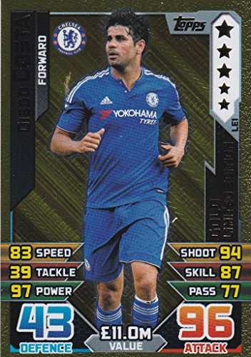 Match Attax 2015/2016 - Diego Costa Gold Limited Edition Card by Match Attax