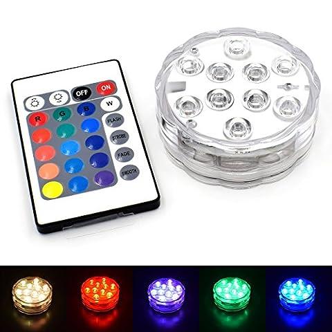 Chileeany LED RGB Éclairages Submersible LED avec télécommande, Lumière Waterproof pour le mariage/Fête/Noël/Piscine/Fish Tank