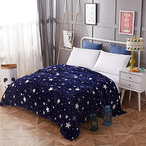 Zengluo Bedding Couverture Souple Superbe de Flanelle de Haute densité de Couverture de Couvre-lit d'étoiles Brillantes pour Les Plaids portatifs de Sofa/lit/Voiture, 120X200CM