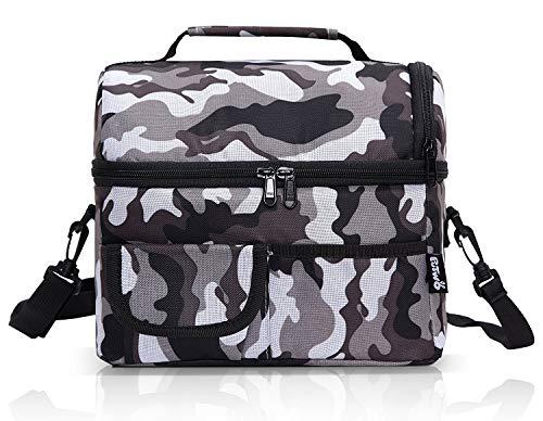 Putwo borsa termica pranzo, 8l porta pranzo termico, borsa termica piccola, borsetta porta pranzo termica, borsa frigo tracolla, borsa pasto, borsa portapranzo per lavoro e picnic - gris camouflage