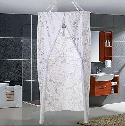 Duschvorhang runder Polyester Hängender Wärmedämmung Verdickter doppelter Reißverschluss D80 * L200cm (31.4 * 78.7inch) , 4 , small (Schlüsselloch-center)