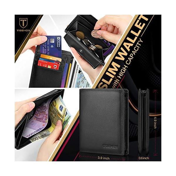 TEEHON® Portafoglio Uomo Brifold Vera Pelle Blocco RFID, con Tasca Portamonete, 12 Porta Carte di Credito, 2 Scomparti… 2 spesavip